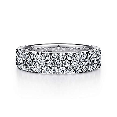 Wide 14K White Gold Prong Set Diamond Anniversary Band
