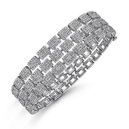Wide 14K White Gold Round and Baguette Diamond Bangle Bracelet