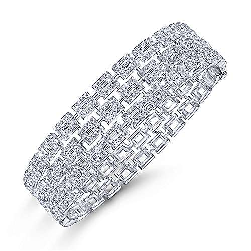 Wide 14K White Gold Round and Baguette Diamond Bangle Bracelet