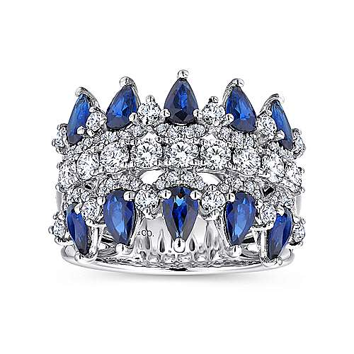 Wide 14K White Gold Round and Pear Shaped Diamond and Sapphire Anniversary Band