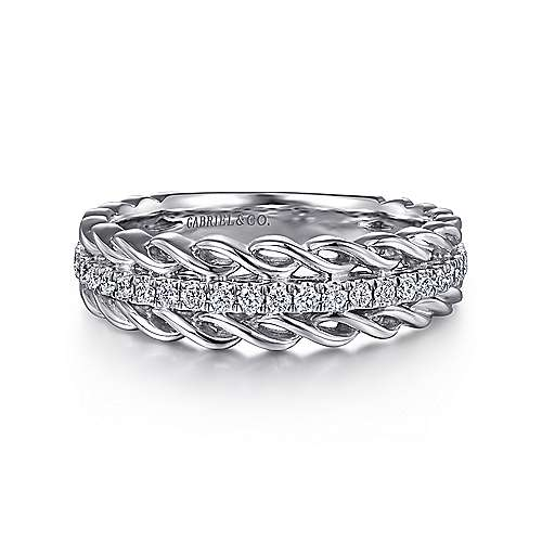 Wide 14K White Gold Twisted Diamond Anniversary Band