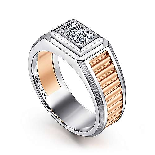 Wide 14K White-Rose Gold Ring with Pavé Diamonds