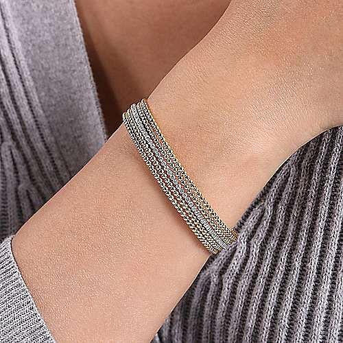 Wide 14K White-Yellow Gold Bujukan Bead Cuff Bracelet with Inner Diamond Channel