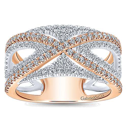 Wide 14K White and Rose Gold French Pavé Set Diamond Anniversary Band