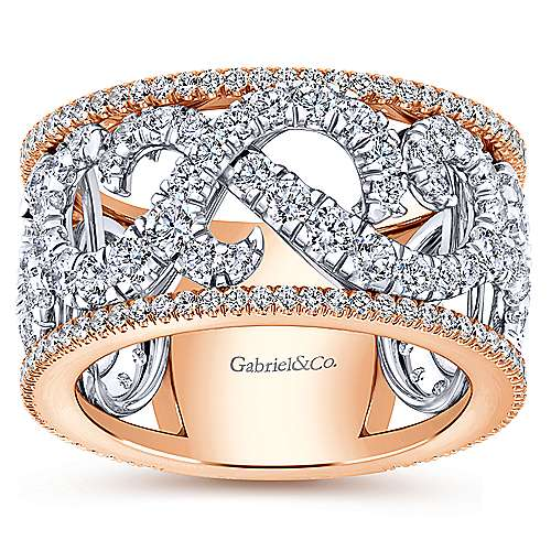 Wide 14K White and Rose Gold French Pavé Set Scrollwork Design Diamond Ring