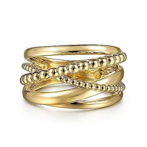 Wide 14K Yellow Gold Bujukan Criss Cross Ring