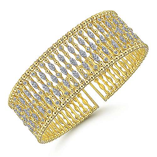Wide 14K Yellow Gold Cage Cuff Bracelet with Diamond Stations