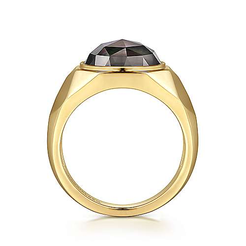 Wide 14K Yellow Gold Ring with Round Black MOP Faceted Stone