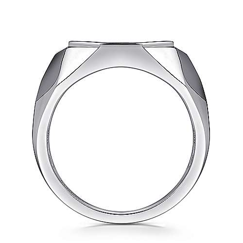 Wide 925 Sterling Silver Faceted Ring with Pavé Black Spinel