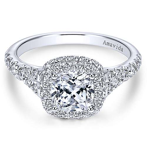 Gabriel - Wilde 18k White Gold Cushion Cut Double Halo Engagement Ring