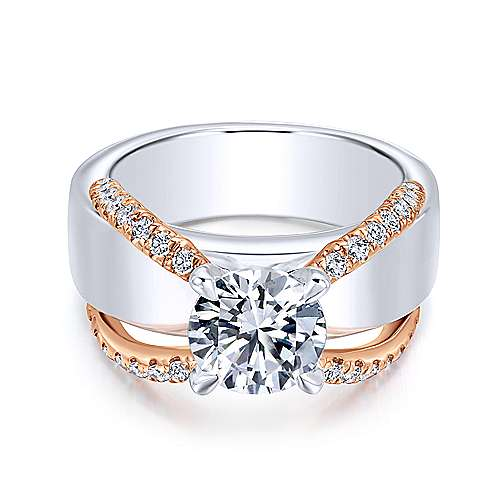Gabriel - Willa 18k White And Rose Gold Round Straight Engagement Ring