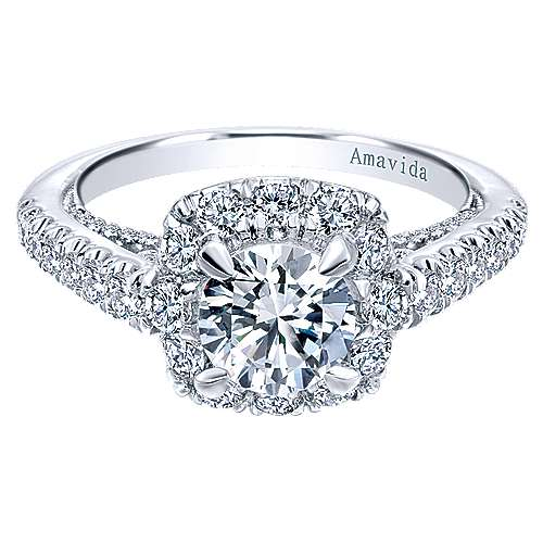 Gabriel - Willow 18k White Gold Round Halo Engagement Ring