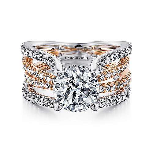 Gabriel - Wilma 14k White And Rose Gold Round Twisted Engagement Ring
