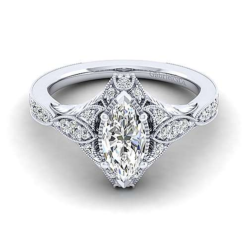 Gabriel - Windsor 14k White Gold Marquise  Halo Engagement Ring