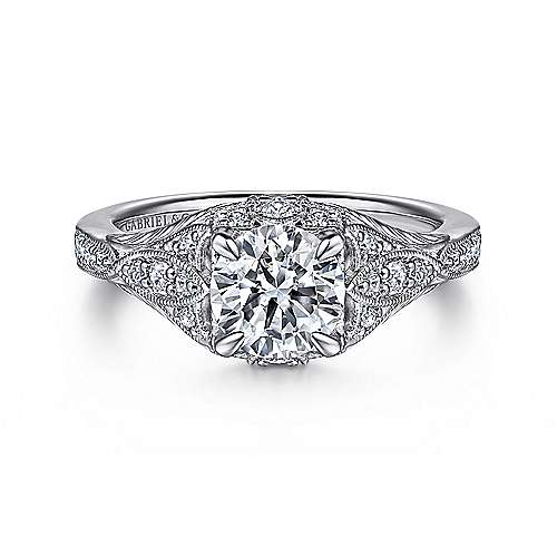Gabriel - Windsor 14k White Gold Round Halo Engagement Ring
