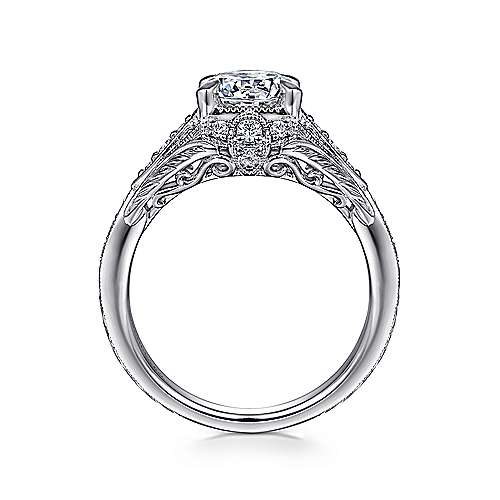 Windsor 14k White Gold Round Halo Engagement Ring angle 2