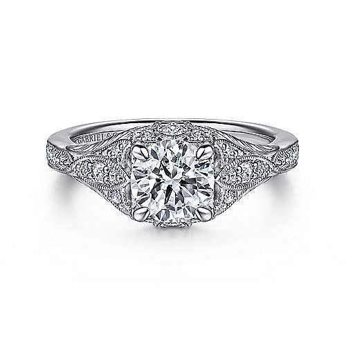 Gabriel - Windsor Platinum Round Halo Engagement Ring