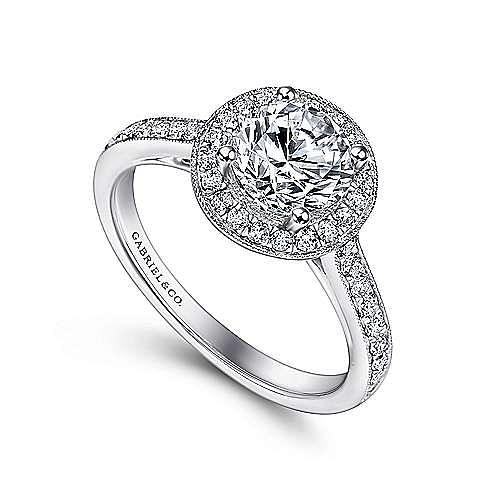 Winnie 14k White Gold Round Halo Engagement Ring angle 3