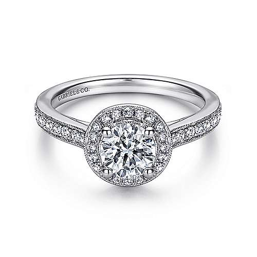 Winnie 14k White Gold Round Halo Engagement Ring angle 1