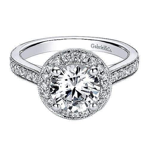 Winnie 14k White Gold Round Halo Engagement Ring angle 1