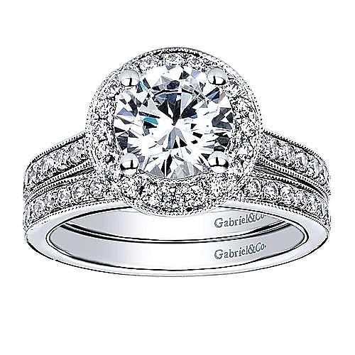 Winnie 14k White Gold Round Halo Engagement Ring angle 4