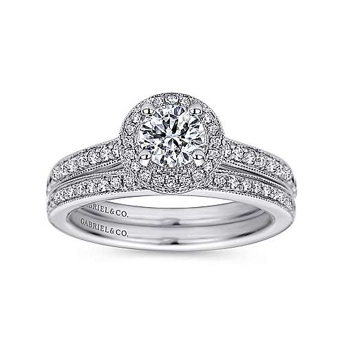 Winnie 14k White Gold Round Halo Engagement Ring angle 4
