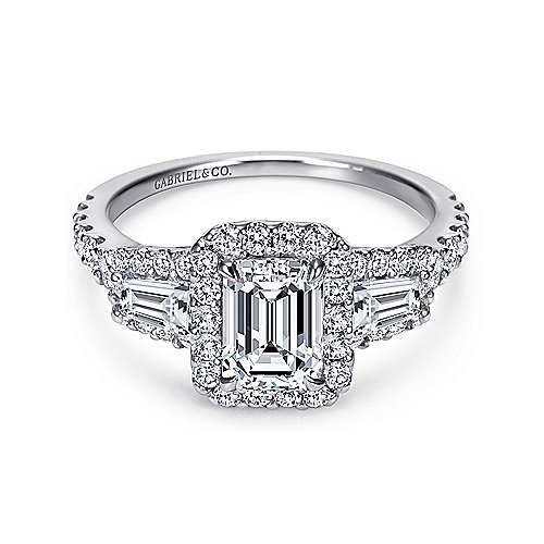 Gabriel - Winslow 14k White Gold Emerald Cut Halo Engagement Ring