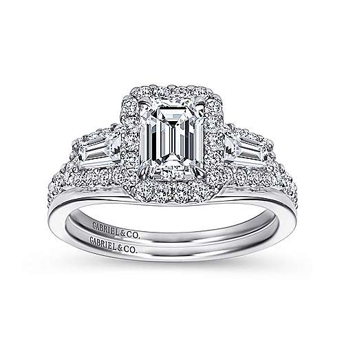 Winslow 14k White Gold Emerald Cut Halo Engagement Ring angle 4