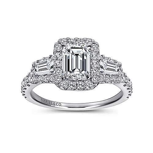 Winslow 14k White Gold Emerald Cut Halo Engagement Ring angle 5