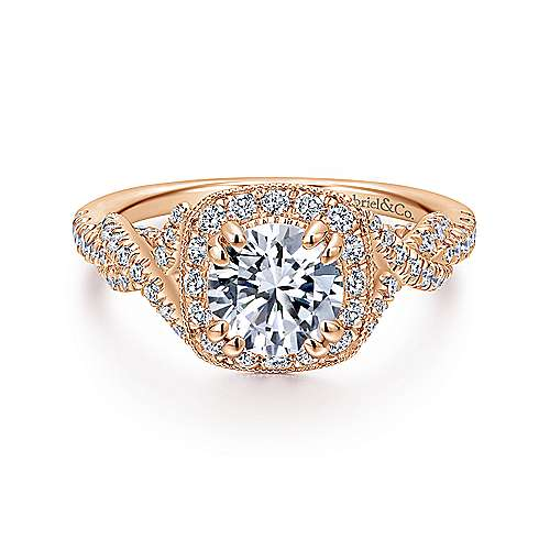 Gabriel - Wisteria 14k Rose Gold Round Halo Engagement Ring
