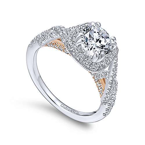 Wisteria 14k White And Rose Gold Round Halo Engagement Ring angle 3
