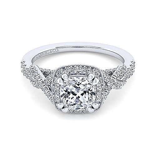 Gabriel - Wisteria 14k White Gold Cushion Cut Halo Engagement Ring