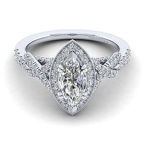 Gabriel - Wisteria 14k White Gold Marquise  Halo Engagement Ring