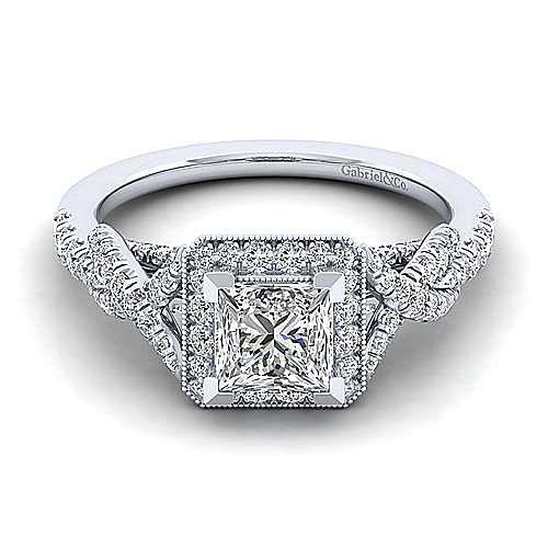 Gabriel - Wisteria 14k White Gold Princess Cut Halo Engagement Ring