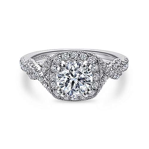 Wisteria 14k White Gold Round Halo Engagement Ring angle 1