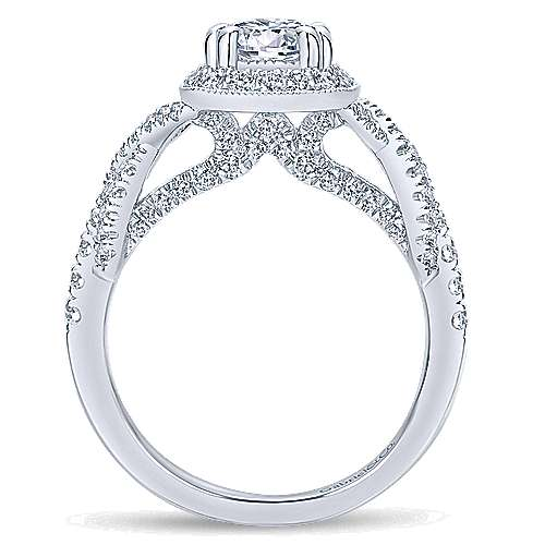 Wisteria 14k White Gold Round Halo Engagement Ring angle 2