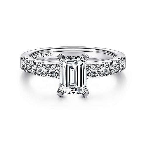 Gabriel - Wyatt 14k White Gold Emerald Cut Straight Engagement Ring