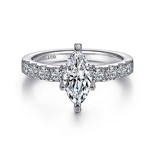 Gabriel - Wyatt 14k White Gold Marquise  Straight Engagement Ring