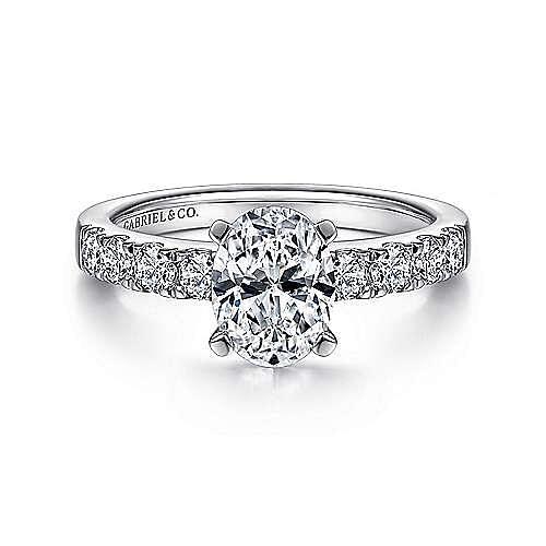Gabriel - Wyatt 14k White Gold Oval Straight Engagement Ring