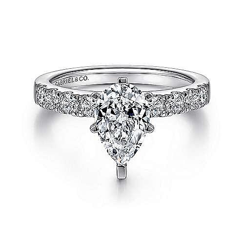 Gabriel - Wyatt 14k White Gold Pear Shape Straight Engagement Ring