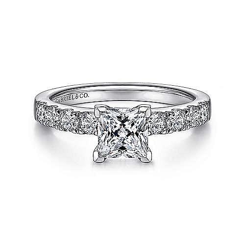 Gabriel - Wyatt 14k White Gold Princess Cut Straight Engagement Ring