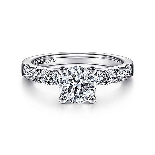 Gabriel - Wyatt 14k White Gold Round Straight Engagement Ring