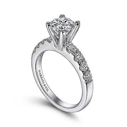 Wyatt 14k White Gold Round Straight Engagement Ring angle 3