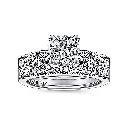 Wyatt 14k White Gold Round Straight Engagement Ring angle 4