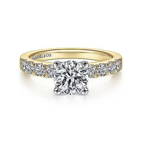 Gabriel - Wyatt 14k Yellow And White Gold Round Straight Engagement Ring