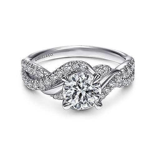 Xiomara 14k White Gold Round Twisted Engagement Ring angle 1