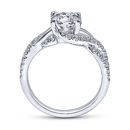Xiomara 14k White Gold Round Twisted Engagement Ring angle 2
