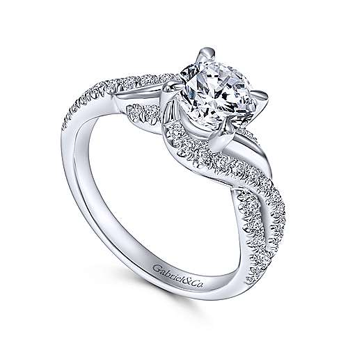 Xiomara 14k White Gold Round Twisted Engagement Ring angle 3