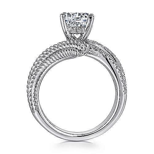 Yara 14k White Gold Round Bypass Engagement Ring angle 2