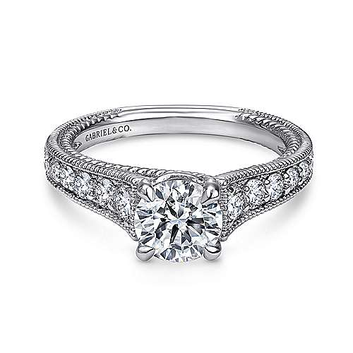 Gabriel - Yara 14k White Gold Round Straight Engagement Ring